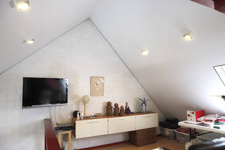 Spanplafond tegen schuine wand - © Helixe